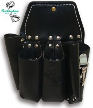 "Buckingham Double Back Holster w/5 Pockets & 2-way Knife Snap- 10 3/4"" x 8""-BLACK"