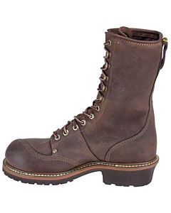 "Carolina Brown Leather Waterproof 10"" Lineman Boot EE Width"