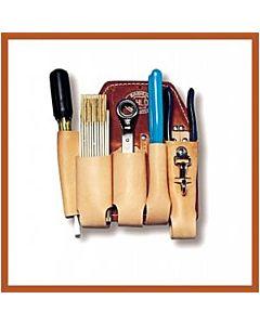 Bashlin Russett Leather Lineman's Holster w/5 Pockets, Knife Snap, & Attachment Kit