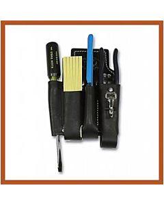 Bashlin Black Russett Leather Lineman's Holster w/4 Pockets, Knife Snap, & Attachment Kit