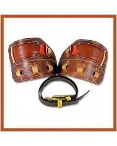 Bashlin Harness Leather Climber Pads w/Angled Insert for Aluminum Climbers & 1 Pair of 86N Straps