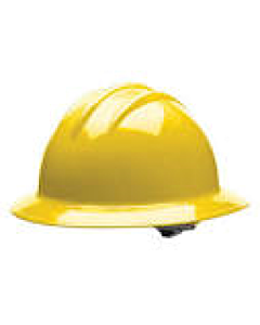 Bullard Yellow Full Brim Hard Hat w/Ratchet Suspension