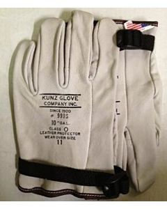 "Kunz 10"" Class 0 Low Voltage Gloves w/Pull Strap Size- 9.5"