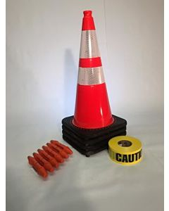 "T-CapMag Barricade Kit #2, Containing (4) 28"" Cones, (6) T-CapMags & (1) 1000'/Roll of Caution Barricade Tape"