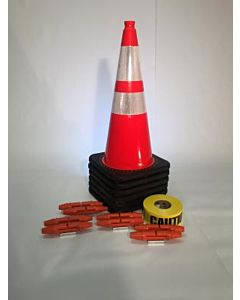 "T-CapMag Barricade Kit #3, Containing (6) 28"" Cones, (8) T-CapMags & (1) 1000'/Roll of Caution Barricade Tape"