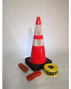 "T-CapMag Barricade Kit #4, Containing (2) 28"" Cones, (2) T-CapMags (2) T-Cap & (1) 1000'/Roll of Caution Barricade Tape"