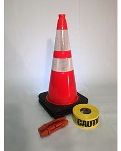 "T-CapMag Barricade Kit #7, Containing (2) 28"" Cones, (2) T-Cap & (1) 1000'/Roll of Caution Barricade Tape"