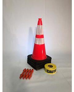 "T-CapMag Barricade Kit #8, Containing (4) 28"" Cones, (4) T-Cap & (1) 1000'/Roll of Caution Barricade Tape"