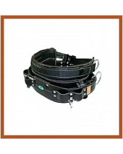 Bashlin Black Leather 4 D-ring Line Belt